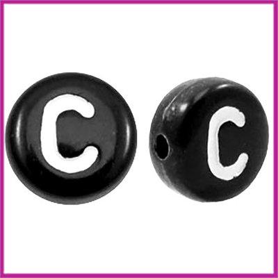 Letterkraal acryl zwart rond 7 mm C