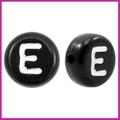 Letterkraal acryl zwart rond 7 mm E