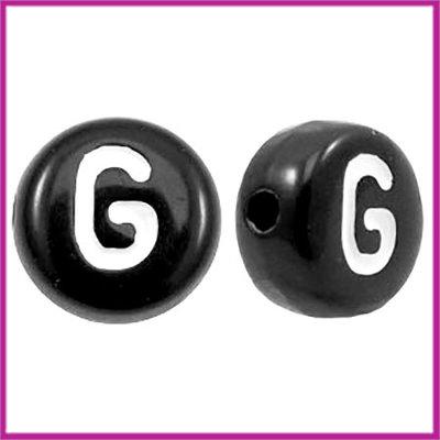 Letterkraal acryl zwart rond 7 mm G