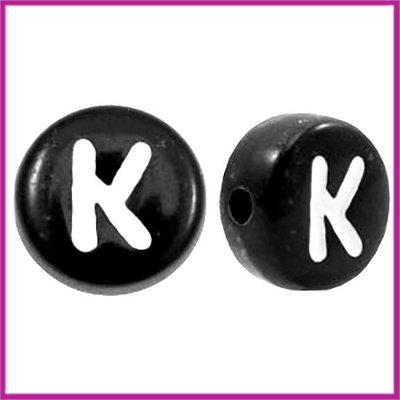 Letterkraal acryl zwart rond 7 mm K