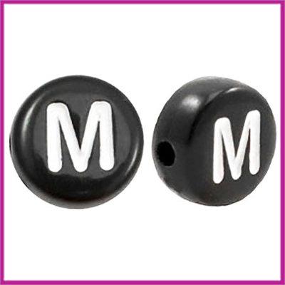 Letterkraal acryl zwart rond 7 mm M