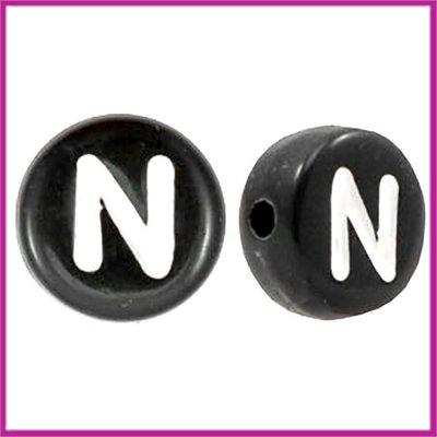 Letterkraal acryl zwart rond 7 mm N