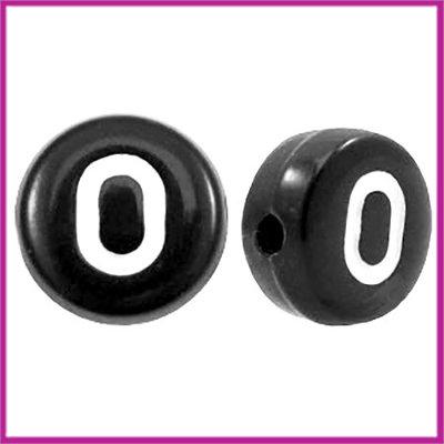 Letterkraal acryl zwart rond 7 mm O