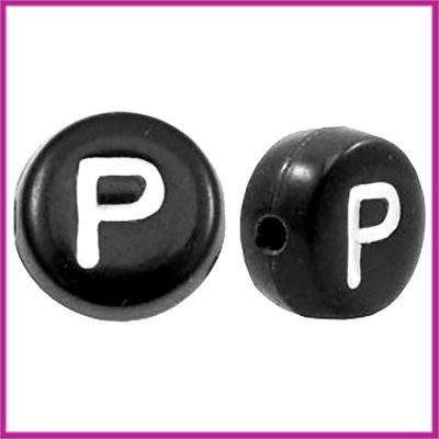 Letterkraal acryl zwart rond 7 mm P