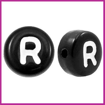 Letterkraal acryl zwart rond 7 mm R