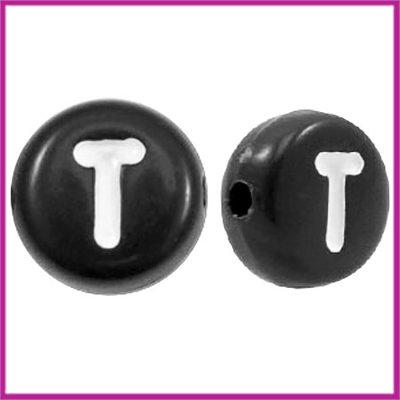 Letterkraal acryl zwart rond 7 mm T