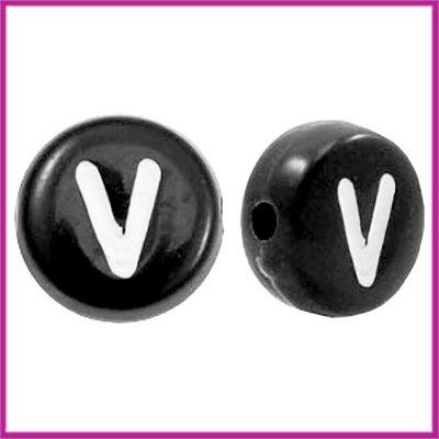 Letterkraal acryl zwart rond 7 mm V