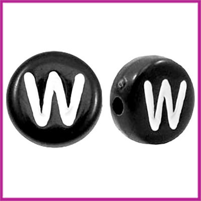 Letterkraal acryl zwart rond 7 mm W