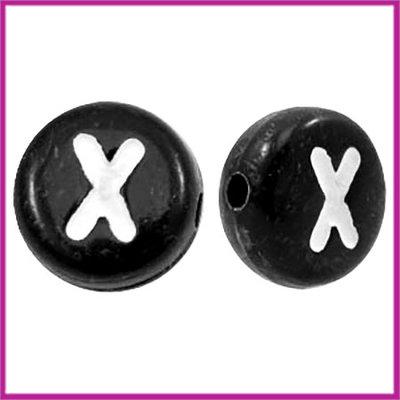 Letterkraal acryl zwart rond 7 mm X