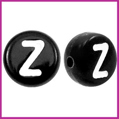 Letterkraal acryl zwart rond 7 mm Z