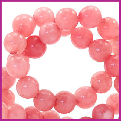 Natuursteen kralen rond Ø4mm Red stone coral berry rose