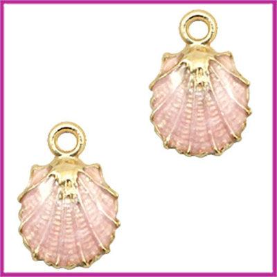 BQ metalen bedel schelp goud - licht roze