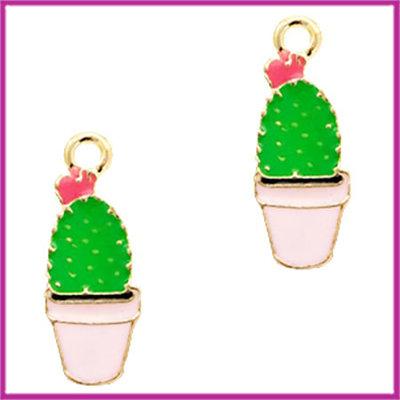 BQ metalen bedel cactus goud - roze groen