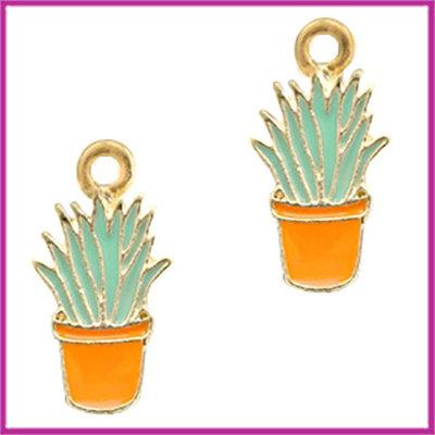 BQ metalen bedel cactus goud - oranje licht blauw