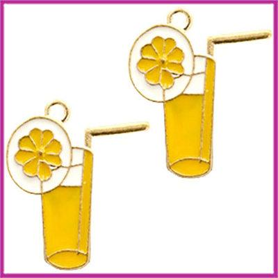 BQ metalen bedel limonade goud - geel wit