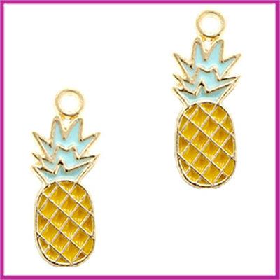 BQ metalen bedel ananas goud - geel licht blauw