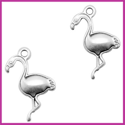 DQ metaal bedel flamingo Antiek zilver