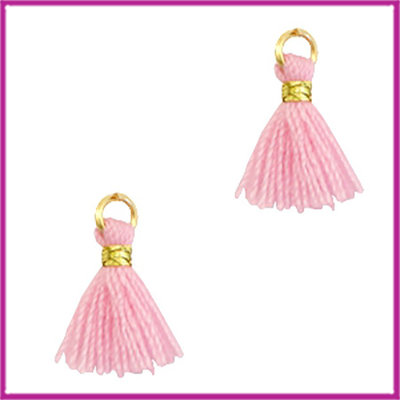 Kwastje mini Ibiza 1cm goud candy pink