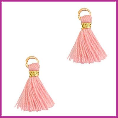 Kwastje mini Ibiza 1cm goud shell pink