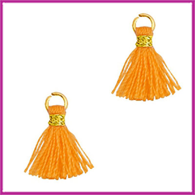 Kwastje mini Ibiza 1cm goud flame orange