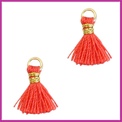 Kwastje mini Ibiza 1cm goud fushion coral red