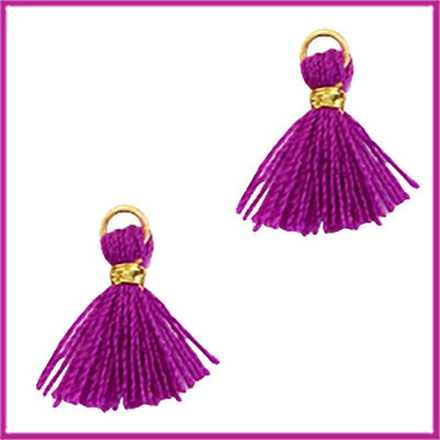 Kwastje mini Ibiza 1cm goud electric purple violet