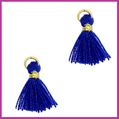 Kwastje mini Ibiza 1cm goud clematis blue