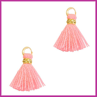 Kwastje mini Ibiza 1cm goud neon coral pink