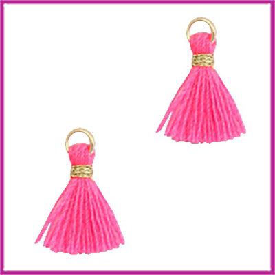 Kwastje mini Ibiza 1cm goud neon pink