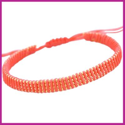 Hip zomers armbandje plat coraal roze-rood