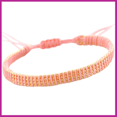 Hip zomers armbandje plat licht roze