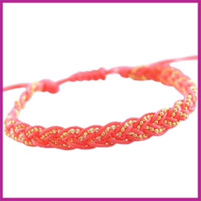 Hip zomers armbandje gevlochten coraal roze-rood