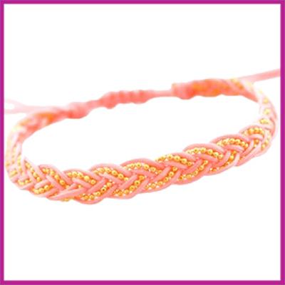 Hip zomers armbandje gevlochten licht roze
