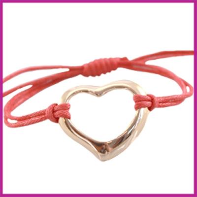 Hip zomers armbandje groot hart coraal roze-rood