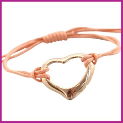 Hip zomers armbandje groot hart zalm roze