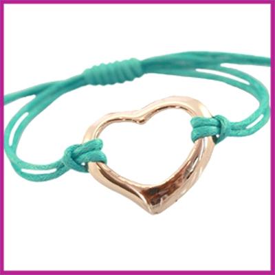 Hip zomers armbandje groot hart turquoise blauw