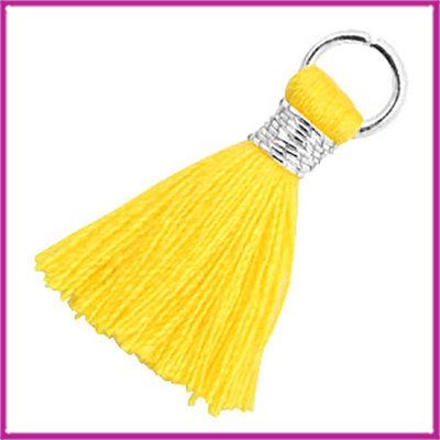 Kwastje Ibiza style 1,8cm met ring zilver Cyber yellow