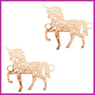 Bohemian metaal tussenstuk unicorn rosegold