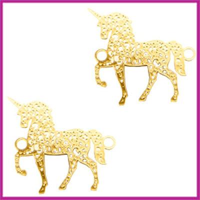 Bohemian metaal tussenstuk unicorn goud