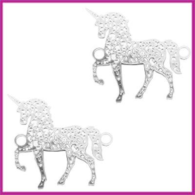 Bohemian metaal tussenstuk unicorn antiek zilver
