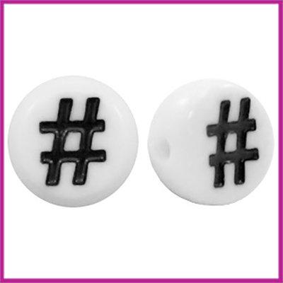 Letterkraal acryl wit/zwart rond 7 mm # hashtag