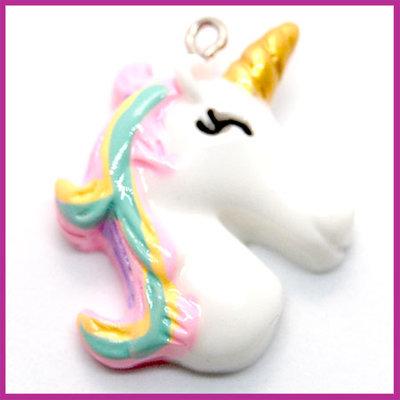 Bedel kunsthars met oog Unicorn wit regenboog roze