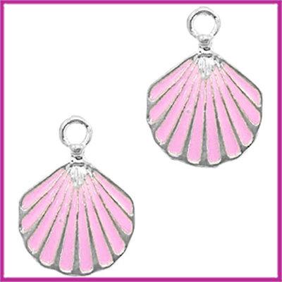 BQ metalen bedel schelpje zilver roze