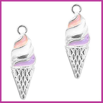 BQ metalen bedel ijsje zilver paars roze