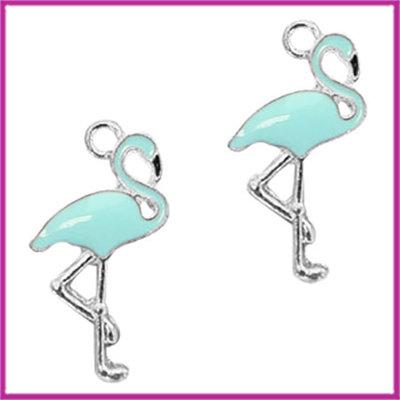 BQ metalen bedel flamingo zilver licht blauw