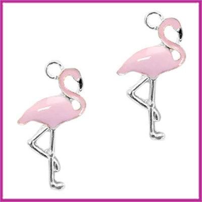 BQ metalen bedel flamingo zilver licht lavendel roze