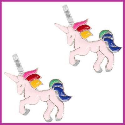 BQ metalen bedel unicorn zilver licht roze