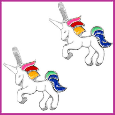 BQ metalen bedel unicorn zilver wit
