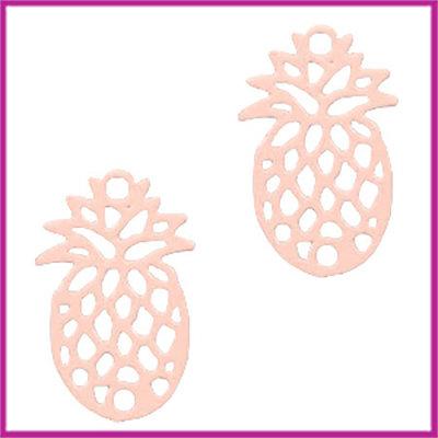 Bohemian metaal bedel / tussenstuk ananas licht roze