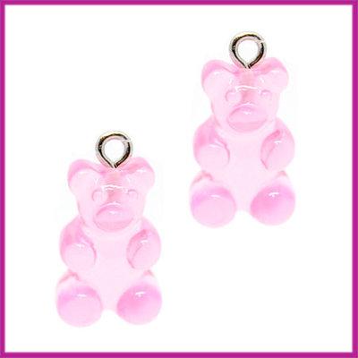 Kunststof bedel / hanger Gummiebeer transparant roze